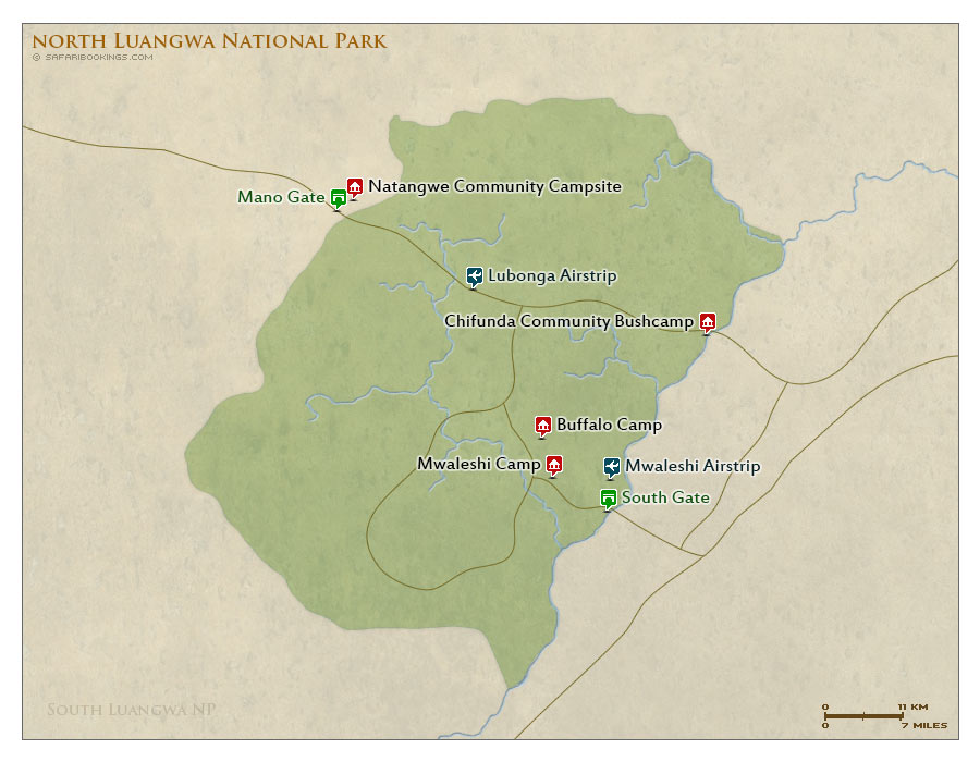 Detailed Map of North Luangwa National Park
