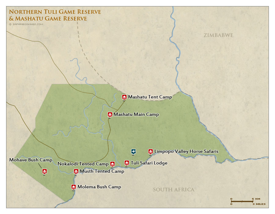 Northern Tuli Map – Detailed Map of Northern Tuli Game Reserve