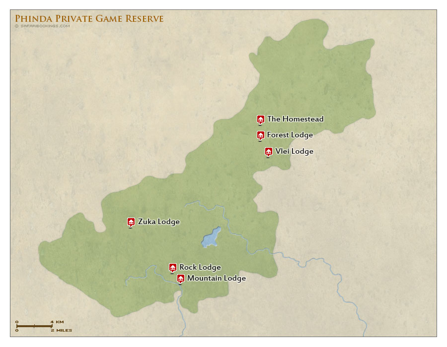 Detailed Map of Phinda Game Reserve