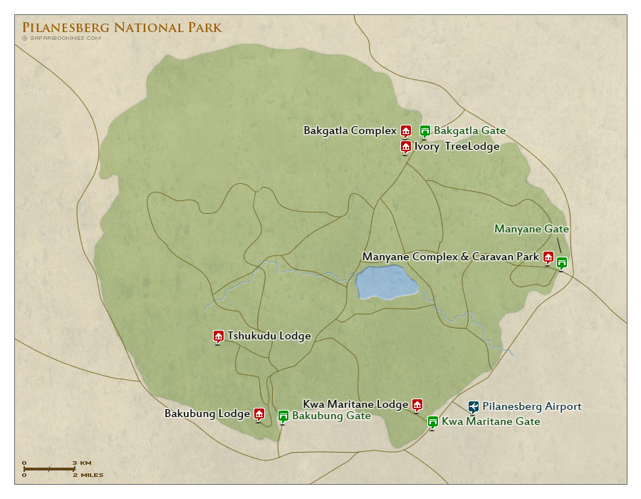 Detailed Map of Pilanesberg Game Reserve