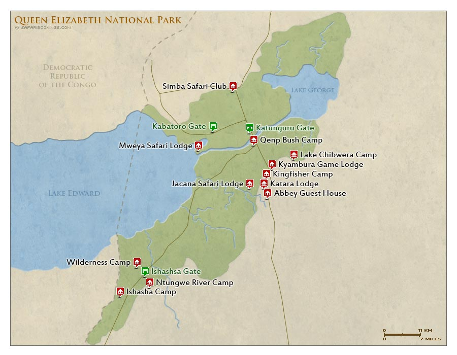 Detailed Map of Queen Elizabeth National Park