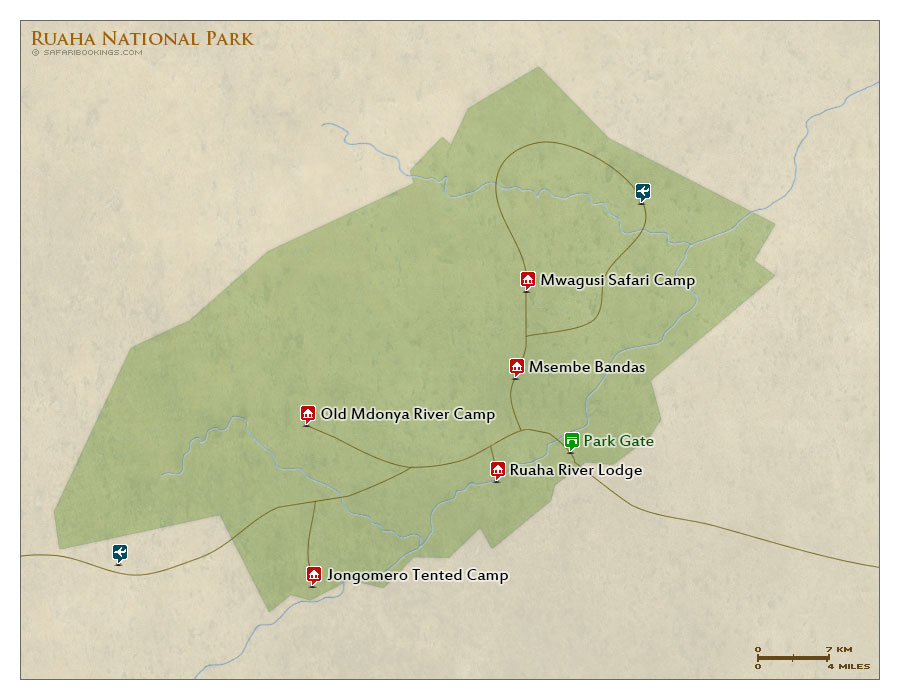 Detailed Map of Ruaha National Park
