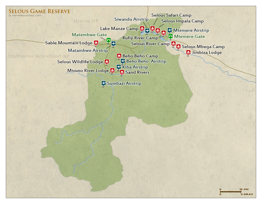 National Geographic Tours Africa >> Selous GR Map – Detailed map of Selous Game Reserve