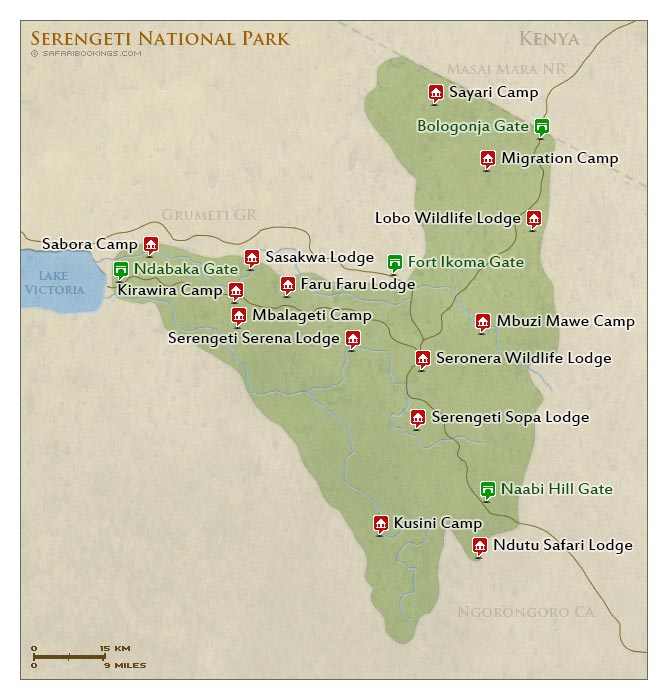 Detailed Map of Serengeti National Park