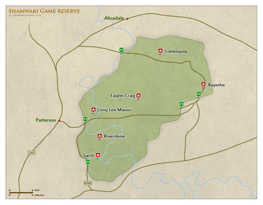 Detailed Map of Shamwari Game Reserve