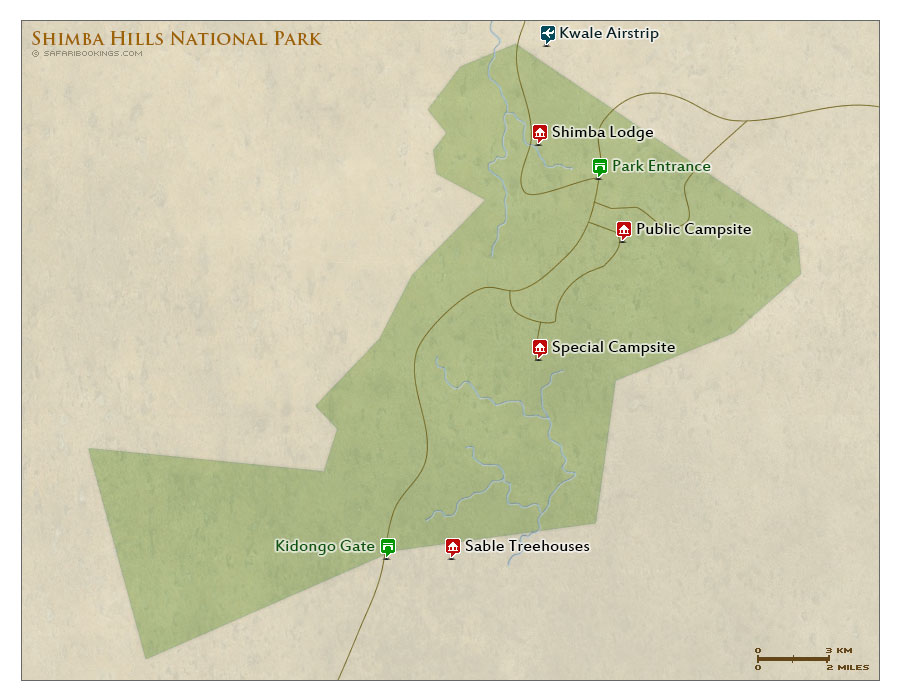 Detailed Map of Shimba Hills National Reserve