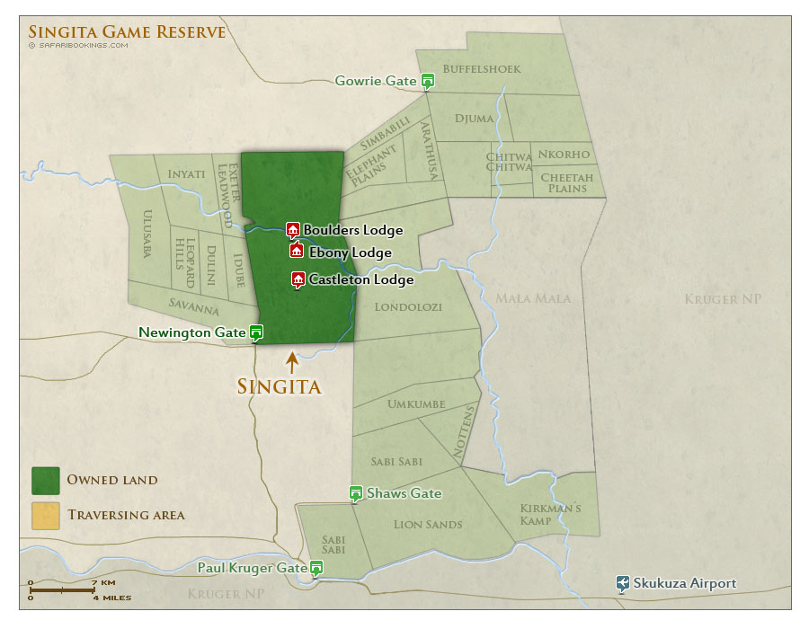 Detailed Map of Singita Sabi Sand Game Reserve