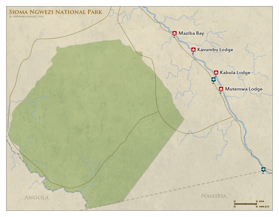 Detailed Map of Sioma Ngwezi National Park