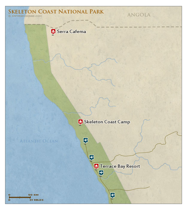 Detailed Map of Skeleton Coast National Park