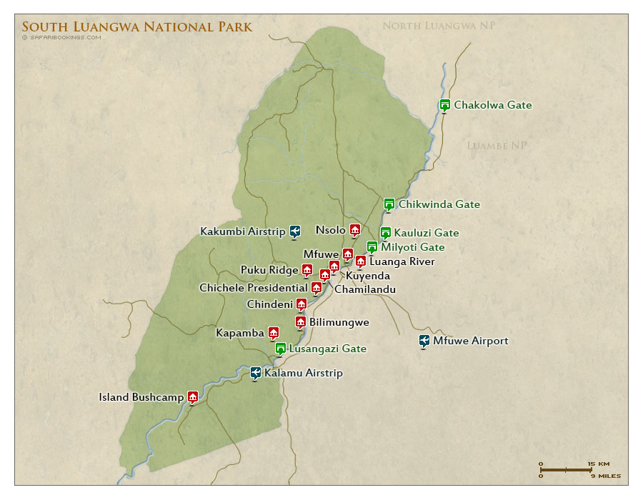 Detailed Map of South Luangwa National Park