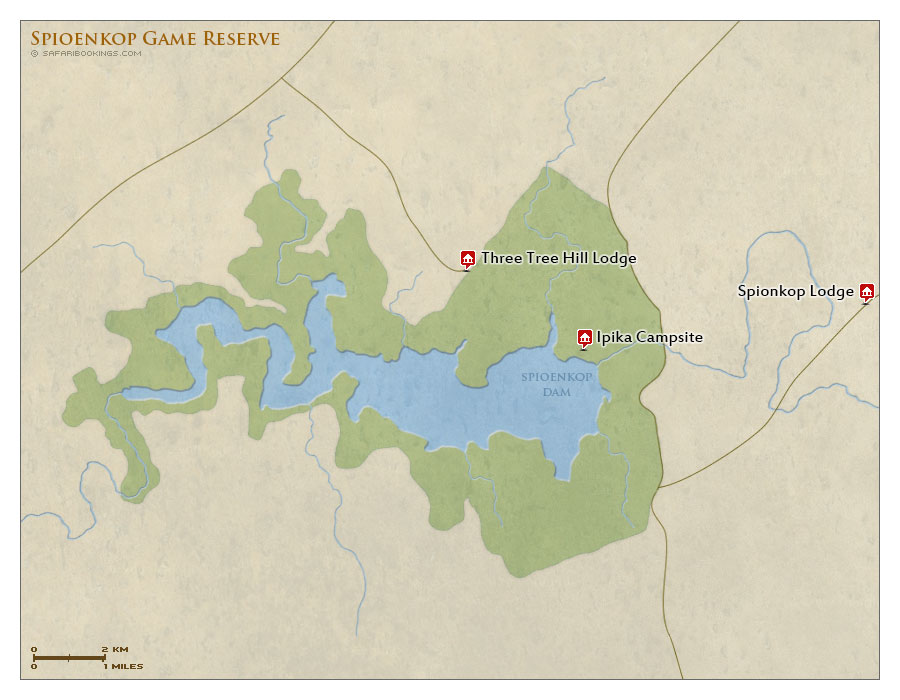 Detailed Map of Spioenkop Game Reserve
