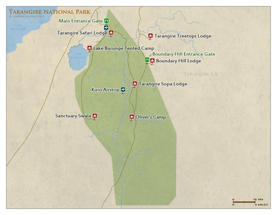 Detailed Map of Tarangire National Park