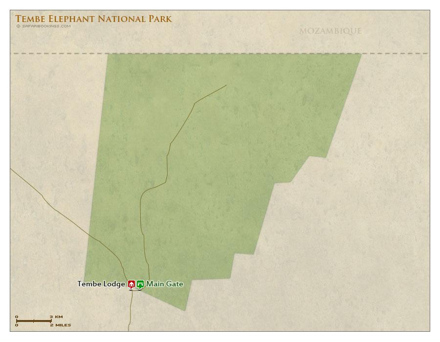 Detailed Map of Tembe Elephant Park
