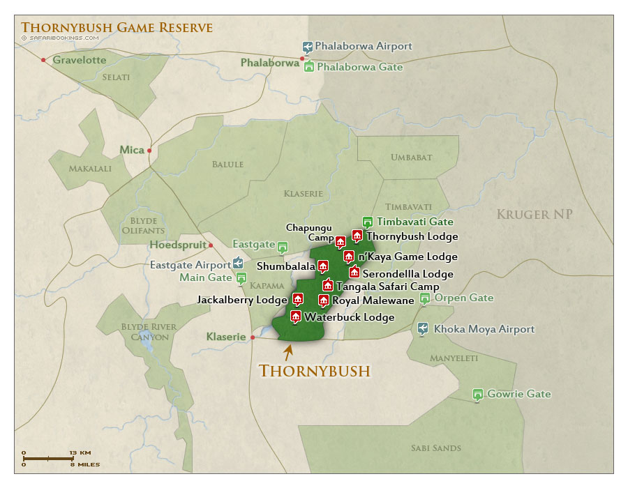Thornybush Gr Map Detailed Map Of Thornybush Game Reserve