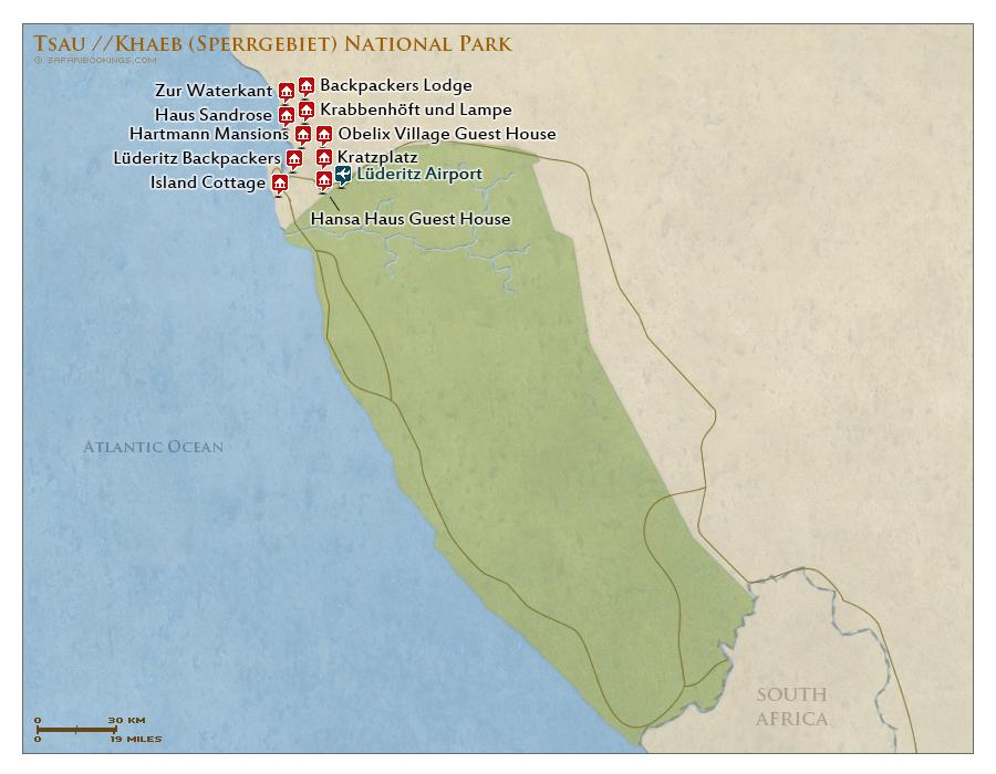 Detailed Map of Tsau //Khaeb National Park