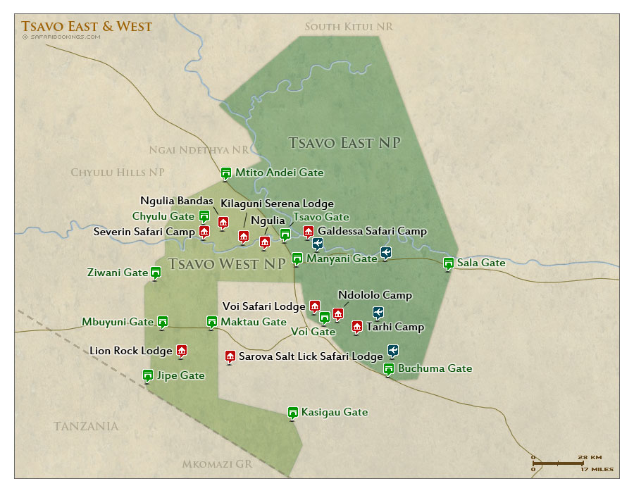 Detailed Map of Tsavo West National Park
