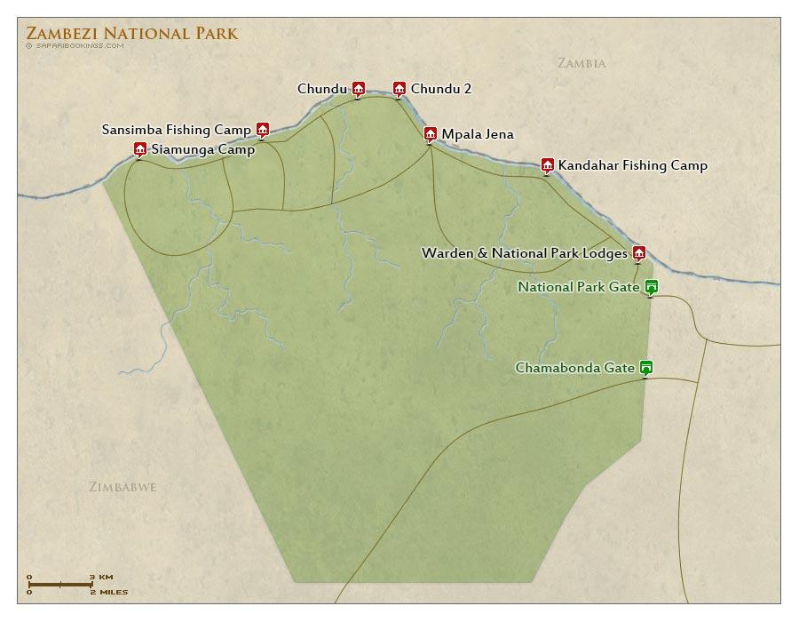 Detailed Map of Zambezi National Park