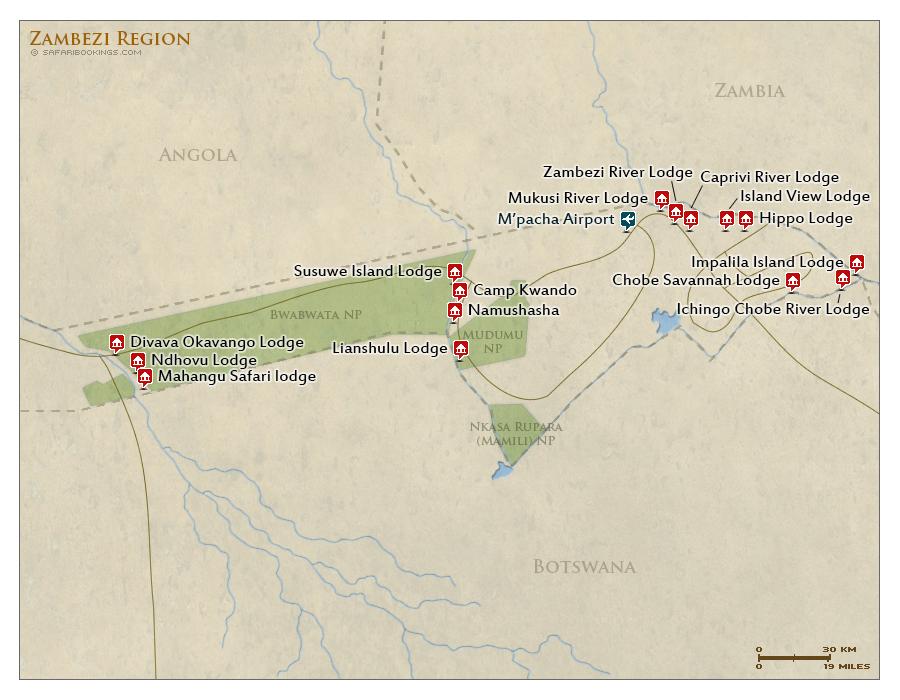 Detailed Map of Zambezi Region