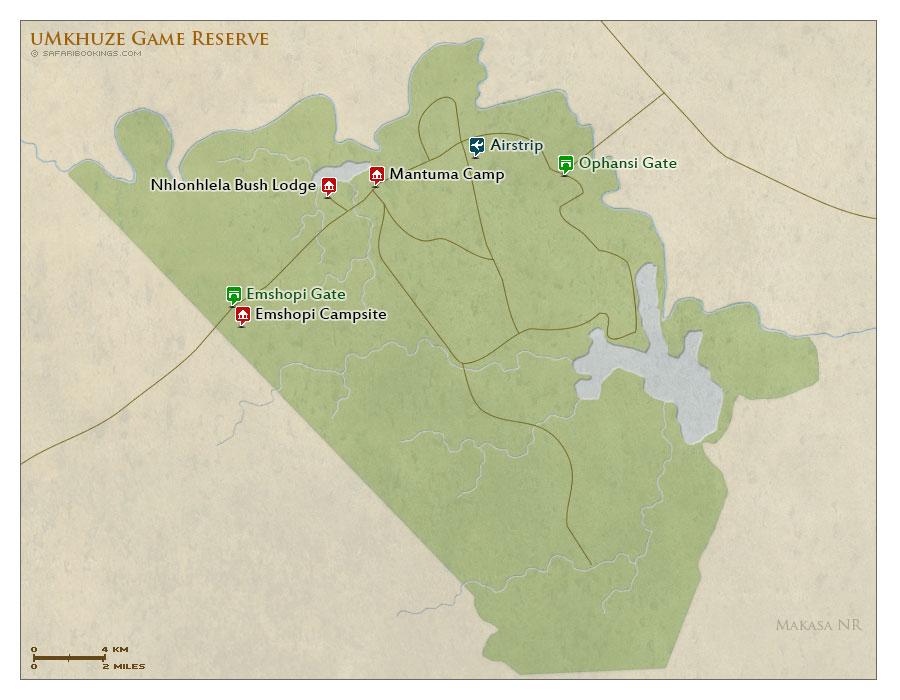Detailed Map of uMkhuze Game Reserve