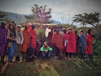 Masai worriors with our clients at Masai Mara