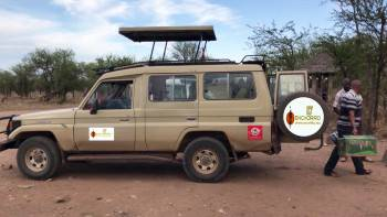 Off-loading our 4x4 after a long safari...