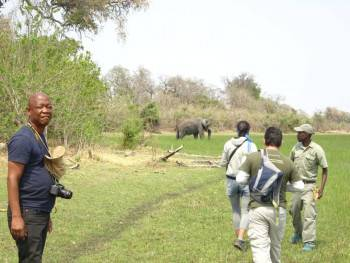 "A ""safari walk"" during a mokoro excursion."