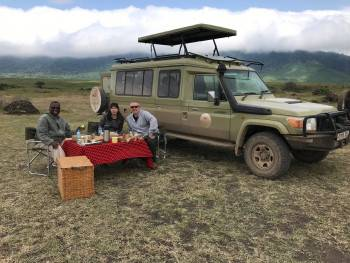 Our Clients enjoying Lunch at the Ngorongoro Crate