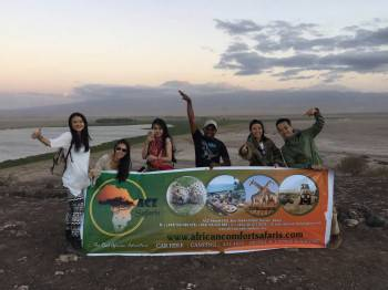 Some clients having fun at Amboseli National Park