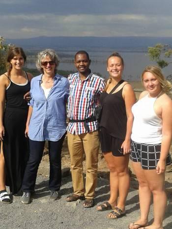 Samuel, Tour leader, with clients at Lake Nakuru