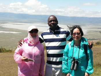 Paul with clients at Ngorongoro Crater enjoying