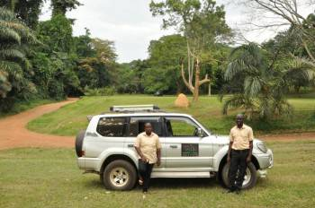 One of our all terrain 4WD SUV's, and some staff.